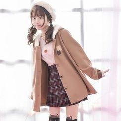 Suzette - Deer Horn Hooded Knit Coat