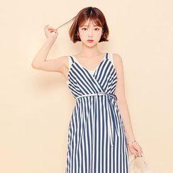 HOTPING - Spaghetti-Strap Striped Midi Dress