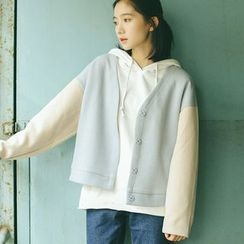 Racoon - Color-Block Loose-Fit Buttoned Jacket