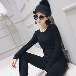 LRZ - Plain Long-Sleeve Knit Top