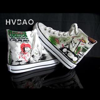 HVBAO - 'Graffiti' High-Top Canvas Sneakers