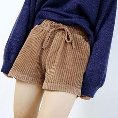 Ranche - Drawstring Waist Corduroy Shorts