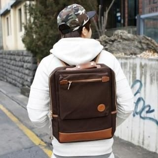 HI-MAN - Faux-Leather Trim Backpack