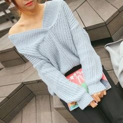 DABAGIRL - V-Neck Mélange Colored Sweater