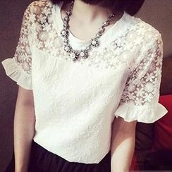 Rocho - Short-Sleeve Ruffle Embroidered Top