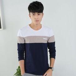 Walwa - Long-Sleeve Color Block T-Shirt