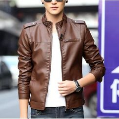 Bay Go Mall - Faux Leather Biker Jacket
