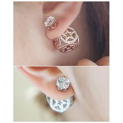Miss21 Korea - Rhinestone Openwork Stud Earrings