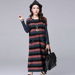 Romantica - Long-Sleeve Striped Knit Dress