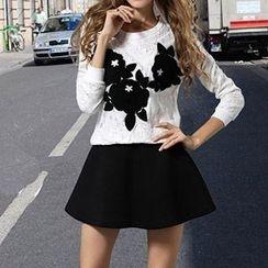 Flore - Set: Applique Lace Top + Skirt