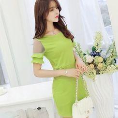 Bornite - Mesh Panel Short-Sleeve Sheath Dress
