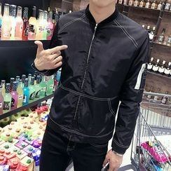 Edway - Contrast Stitching Zip Jacket