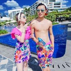 Goldlyre - 情侶套裝: 印花皺褶裙式泳裝 + 泳褲