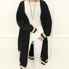 DANI LOVE - Patch Contrast-Trim Long Cardigan