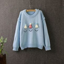 Blue Rose - Tasseled Smiley Knit Top