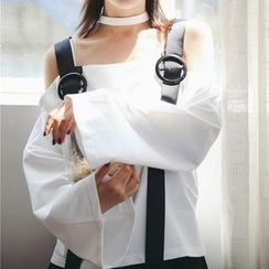 Dasim - Buckled Off-shoulder Halter Top