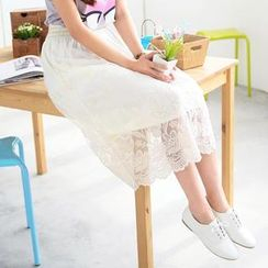 59 Seconds - Flower Embroidered Tulle Maxi Skirt