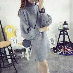 Pumpernickel - Plain Mock Neck Sweater Dress