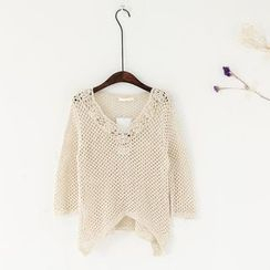 11.STREET - 3/4-Sleeve Lace Collar Knit Top