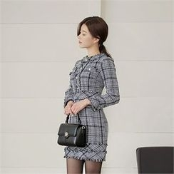 CHICLINE - Check-Patterned Tweed Dress