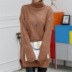 CHICFOX - Turtle-Neck Long Sweater