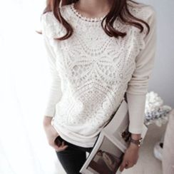 DAILY LOOK - Round-Neck Laced-Panel Top