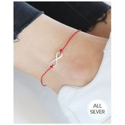 Miss21 Korea - Silver Infinity-Charm Thread Anklet