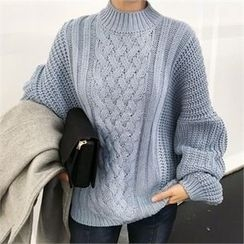 QNIGIRLS - Mock-Neck Cable-Knit Sweater