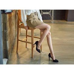 UUZONE - Belted Miniskirt