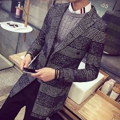 LIBIN - Plaid Notch Lapel Long Coat