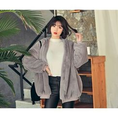 HOTPING - Open-Front Faux-Fur Jacket