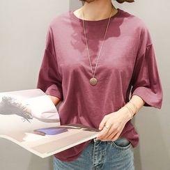 NANING9 - Round-Neck 3/4-Sleeve T-Shirt