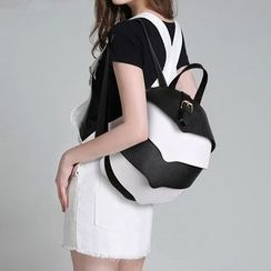 LineShow - Contrast Faux Leather Backpack
