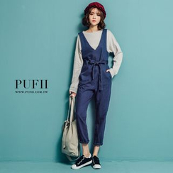 PUFII - V-Neck Jumpsuit