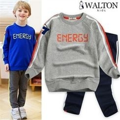WALTON kids - Kids Set: Lettering Top + Drawstring-Waist Sweat Pants