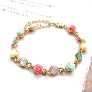AnnSmile - Rhinestone Rose Bracelet