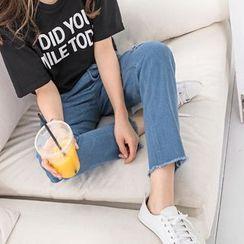 OrangeBear - Distressed Straight-Cut Jeans