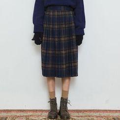 Heynew - Plaid Midi Skirt