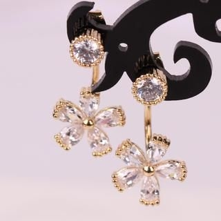 Supermary - Jeweled Flower Drop Earrings