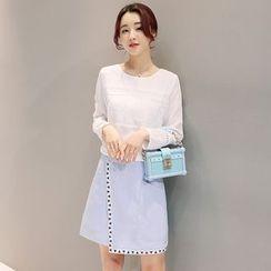 Maine - 套装:雪纺上衣 + A字裙
