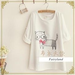 Fairyland - 3/4-Sleeve Cat Print Top