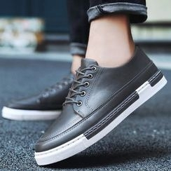 Komm - Lace-Up Faux Leather Casual Shoes