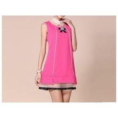 草莓花朵 - 欧根纱拼接假两件连衣裙