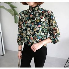 Miamasvin - Tie-Neck Flower Pattern Top