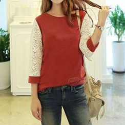 Lina - Long Sleeves Lace Panel Top
