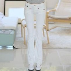 CHICFOX - Boot-Cut Stitched-Accent Pants