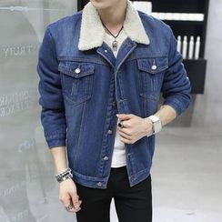 Denimic - Fleece Collar Denim Jacket