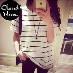 Cloud Nine - 翻邊短袖條紋 T 恤