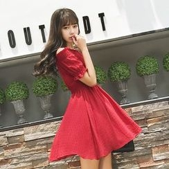 Cherry Dress - Plain Off Shoulder Short Sleeve Chiffon Dress