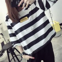 Qimi - Stripe 3/4-Sleeve T-shirt